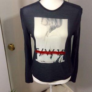 Zara Graphic Tee W & B Long Sleeve Keeping Busy